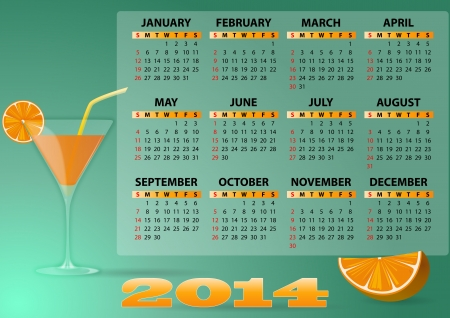 illustration of 2014 calendar with cocktail and orange Stock Vector - 21880908