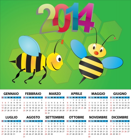 illustration of 2014 calendar for children in italian Vector