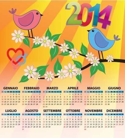 2014 bird calendar for children in italian Vector