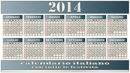 illustration of 2014 calendar italian with holidays Vector