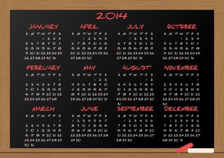 illustration of chalkboard with 2014 calendar Vector