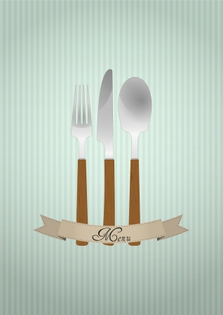 illustration of cutlery with blank ribbon Vector