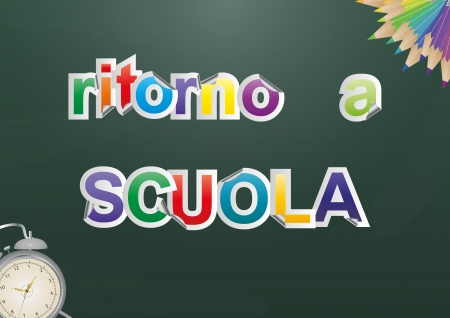 illustration of 'back to school' text with objects, italian language Vector
