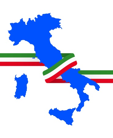 euro area: illustration of italy shape with tricolore ribbon Illustration