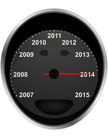 odometer: illustration of 2014 odometer calendar, from 2007 at 2015 Illustration
