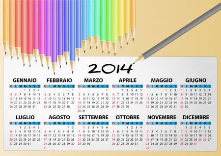 illustration of 2014 calendar pencil, italian Vector