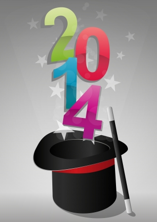 illustration of top hat with 2014 text  Vector