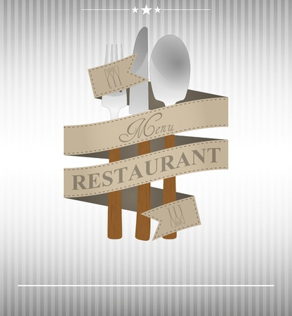 illustration of restaurant menu with cutlery and ribbon Vector