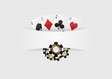 illustration of blank space with aces cards playng