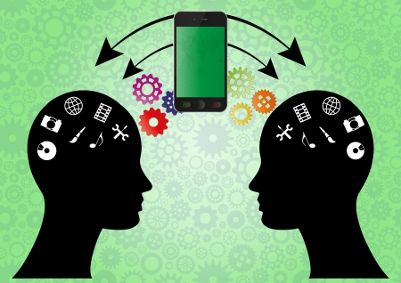 illustration of two heads with media symbol and cellular phone Vector