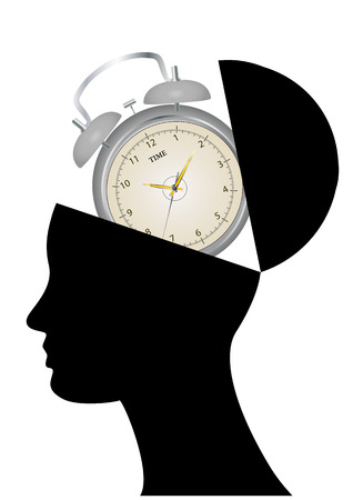 illustration of silhouette open head with alarm clock Stock Vector - 22301467