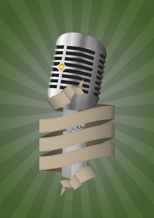 illustration of old microphone with blank ribbon Vector