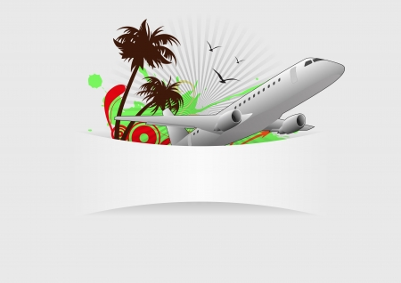 illustration of iairplane and palm with blank space Vector