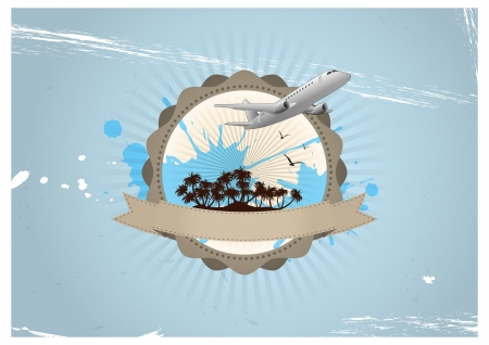 illustration of travel badge with airplane and island Vector