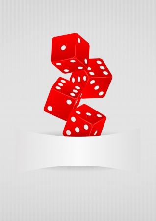 illustration of four red dice with blank space Stock Vector - 22301480