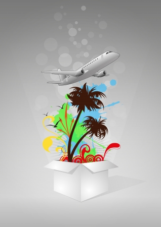 illustration of white box with airplane and palm Vector