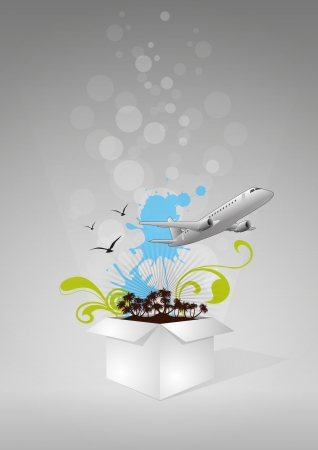 illustration of white box with airplane and island Vector