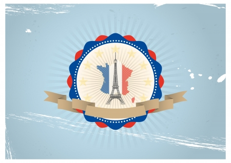 illustration of vintage tour eiffel badge with flag colors Vector