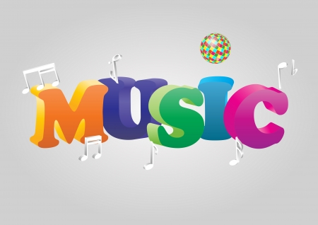 illustration of colorful music text with ball