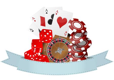 illustration of object casino with blank ribbon  イラスト・ベクター素材