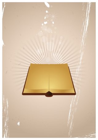 yellow pages: illustration of open ancient book with yellow pages