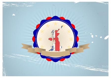 illustration of united kingdom shape in vintage banner Stock Vector - 22500886
