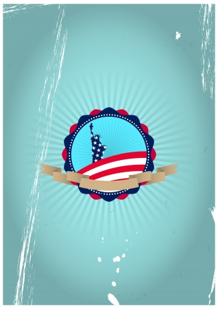 illustration of statue of liberty vintage badge with flag colors Vector