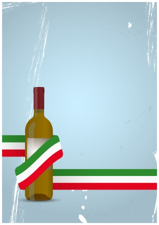 illustration of wine bottle with italian ribbon Vector