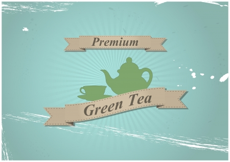 illustration of teapot and cup tea with ribbon Vector