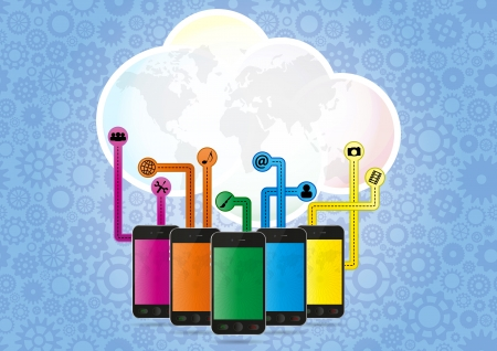 illustration of blank cloud with multimedia smartphone Vector
