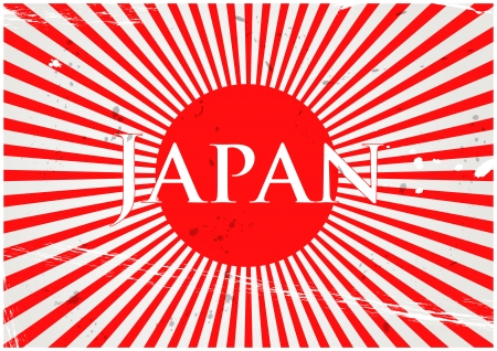 illustration of nippon flag with rays and japan text Vector