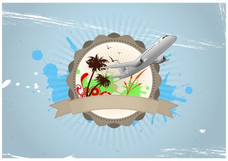 illustration of travel badge with airplane and palm Vector