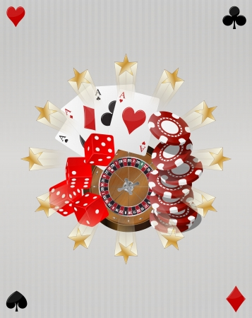 illustration of object casino with gold stars  Vector