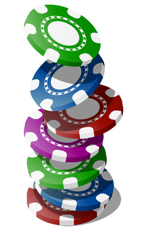illustration of falling colorful chips for casino Vector