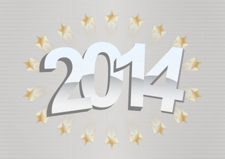 illustration of 2014 text with stars and stripes background Vector