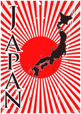 imperialism: illustration of nippon flag with rays and japan shape Illustration