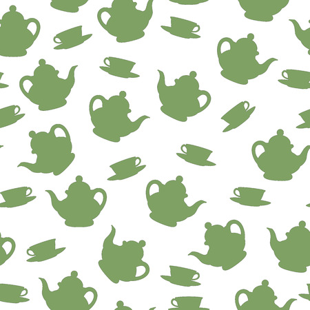 illustration of teapot and tea cup, seamless pattern Vector