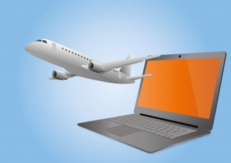 illustration of plane that goes out from the laptop Vector