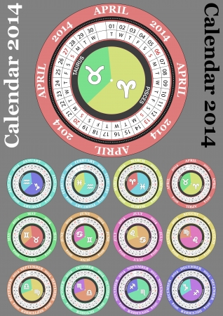 illustration of 2014 color round calendar, with zodiac sign Vector