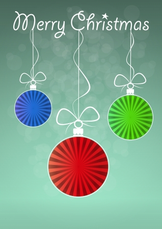 illustration of ball christmas with merry christmas text Vector