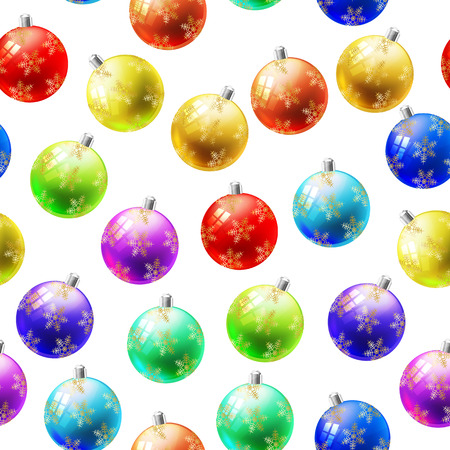 illustration of colorful xmas balls seamless pattern
