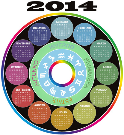 illustration of 2014 color round calendar in italian language Vector