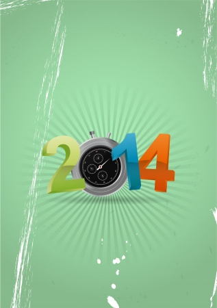 chronometer: illustration of colorful 2014 text with chronometer
