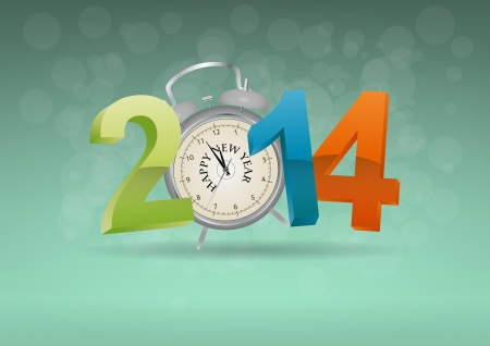 14: illustration of 2014 text with alarm clock  Illustration