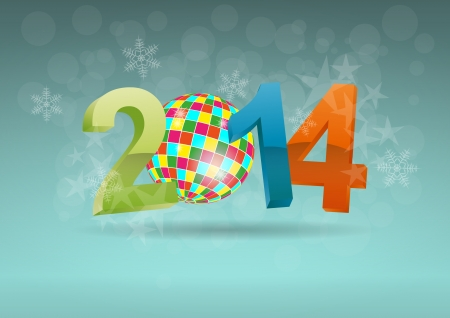 illustration of 2014 text with ball music Vector
