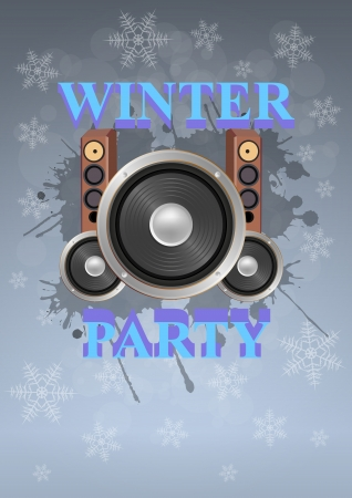 illustration of winter party poster with speakers