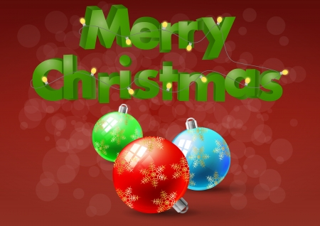 illustration of merry christmas text with xmas balls  Vector