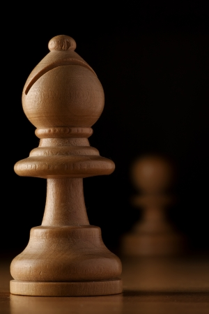 photography of white bishop chess on wood table