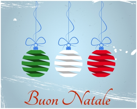 illustration of christmas balls with merry christmas in italian language Vector