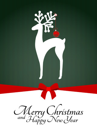 illustration of reindeer silhouette with xmas balls Illustration